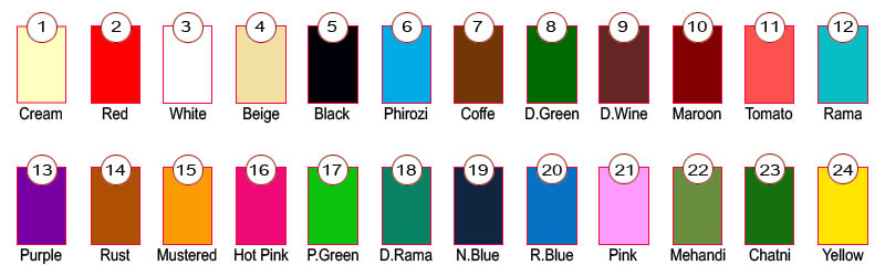 Cotton leggings color chart