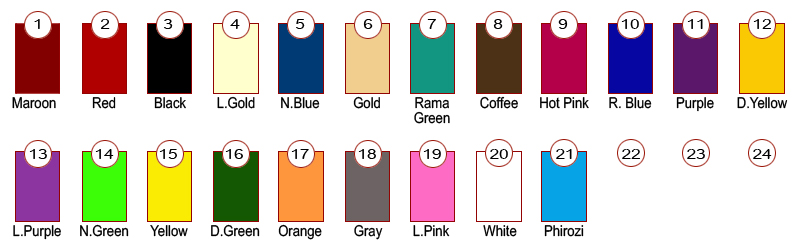 Kanisha leggings color chart