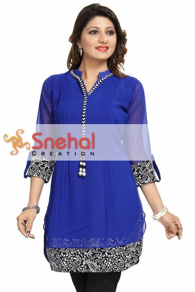 Beautilicious Royal Blue Fine Georgette Party Wear Layered Short Tunic