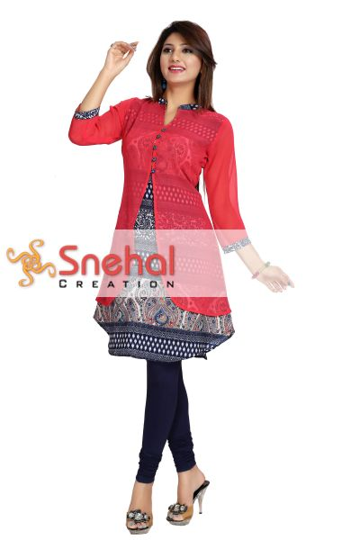 Creatively Layered Coral A-line Short Tunic for Stylish Women