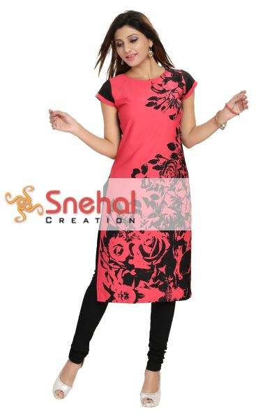 Scintillating Tomato Red and Black Long Kurta for Stylistas