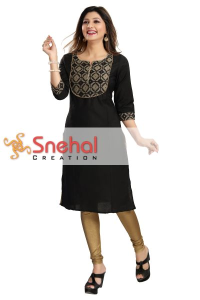 Black Gold Magic Cotton Designer Tunic for Fashionable Women