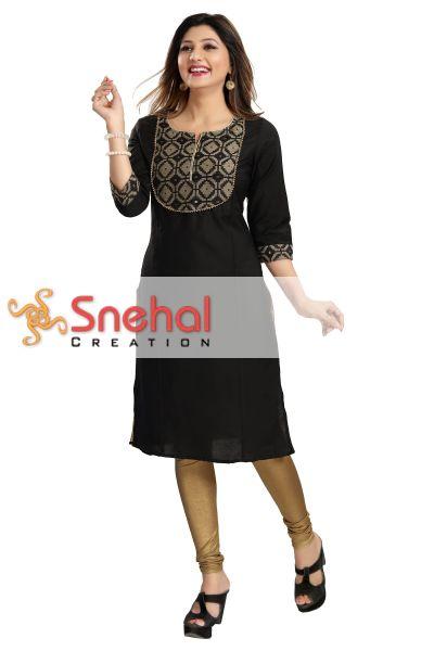 Black Gold Magic Cotton Designer Tunic for Fashionable Women