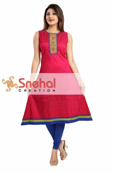 Bold and Blast Hot Pink Raw Silk Sleeveless Kurti Tunic for Everyday Comfort Wear