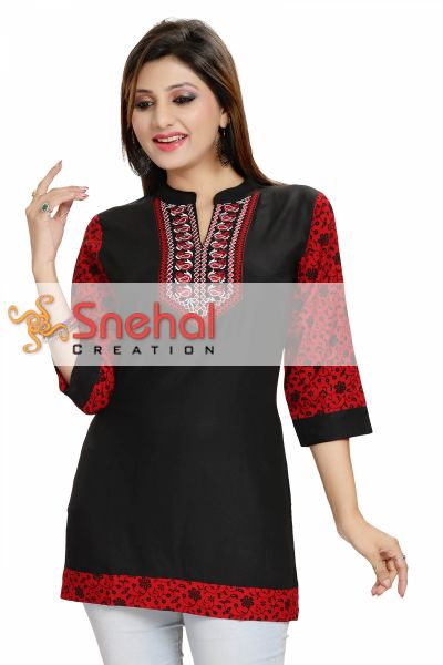 Beautiful Best Black Rayon Cotton Casual Short Kurta