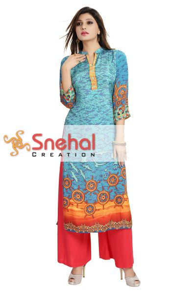 Elegant Light Blue Italian Crepe Long Tunic with Digital Print Design