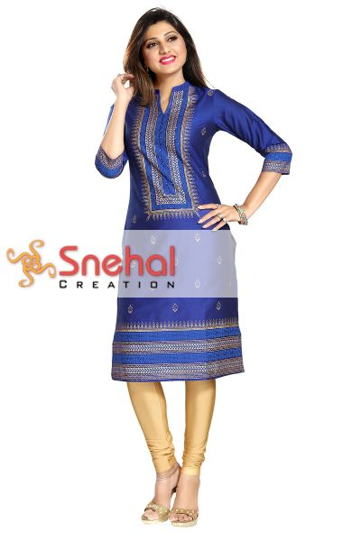 A La Mode Luxury Cotton Silk Tunic in Royal Blue and Gold