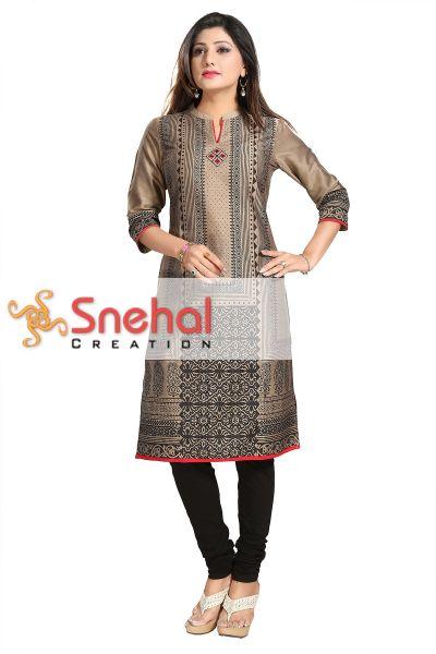 Secret Shimmer Cotton Silk Formal Wear Tunic for Women