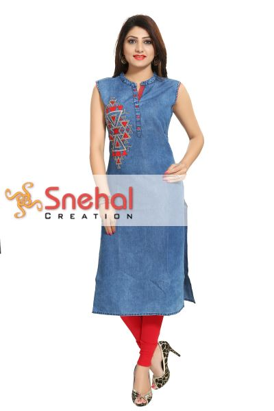 Zesty Denim Fabrics Sleeveless Tunic with Red Embroidery