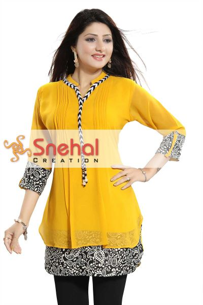 Beautilicious Yellow Fine Georgette Party Wear Layered Short Tunic
