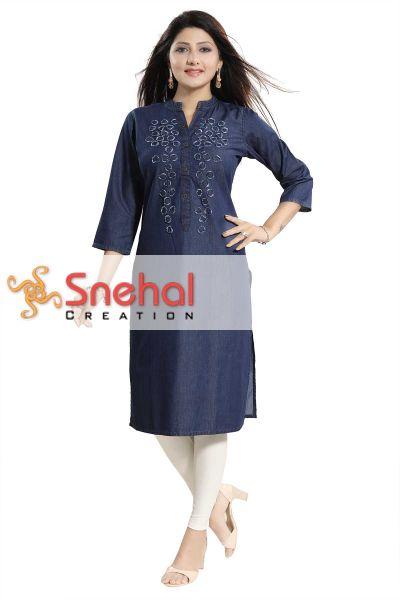 Decent Dark Blue Denim Fabric Long Kurti For Women