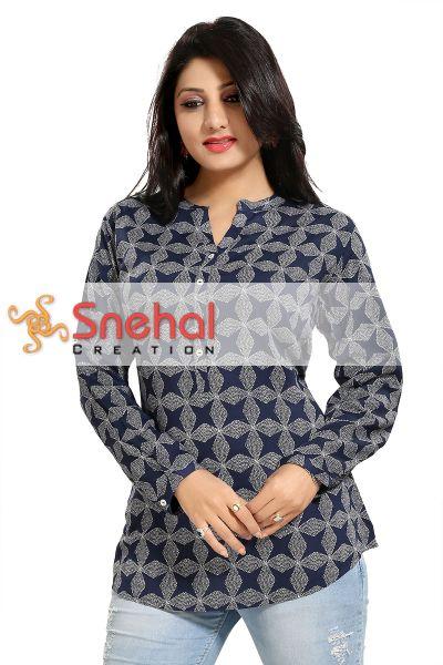 Supreme Style Rayon Cotton Geometric Print Short Tunic Top