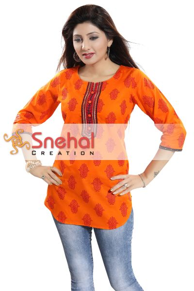 Awesome Orange Cotton Printed Short Kurti with Apple Bottom Silhouette for Women