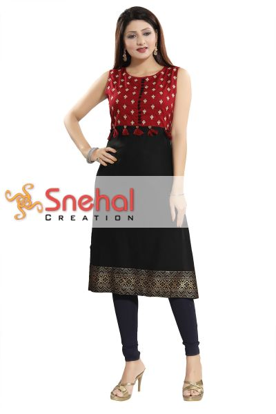 Ethnic Allure Black Rayon Cotton A-line Tunic with Pom Pom Design