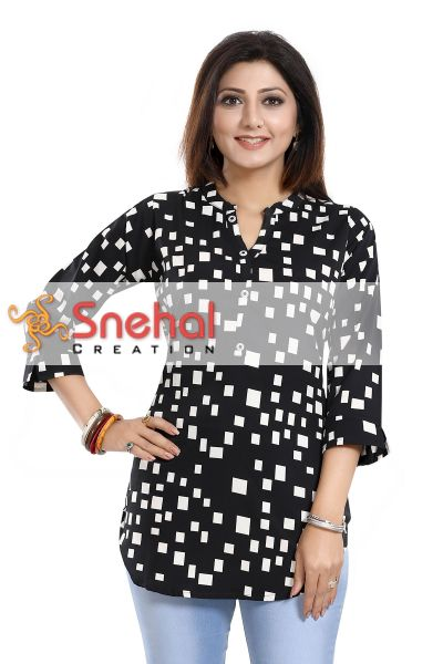 Beauteous Black Poly Crepe Printed Short Tunic Top For Women Product