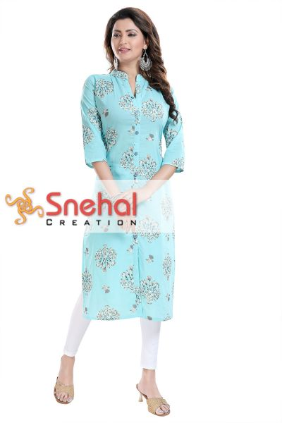 Rama Women's Printed Tunic with Front Open Style and Buttons to Match