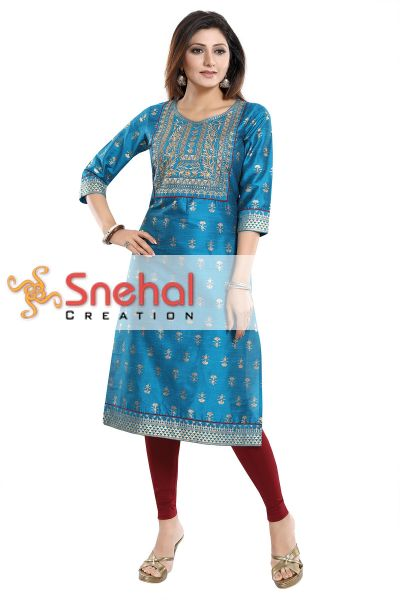 Glamorous Ethnic Blue Raw Silk Tunic with Embroidery