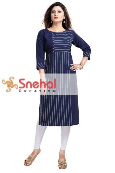 Beautiful Blue Casual Long Kurti