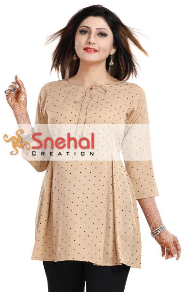 Poly Crepe Short Tunic Top With Pleeted Pattern