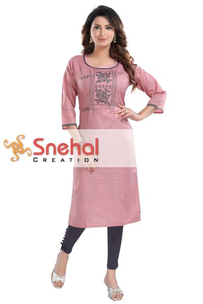 CASUAL COTTON LADIES KURTI WITH EMBROIDERY