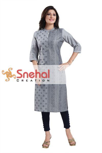 GREY Cotton Silk Formal Wear Tunic for Women