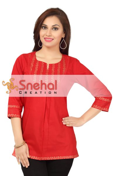 Wed Me Red Short Cotton Designer Short Tunic Top for Women