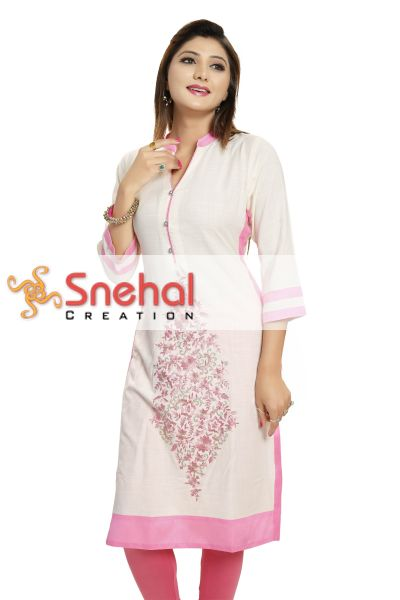 Ravishing Off White Rayon Designer Kurti with Pink Embroidery