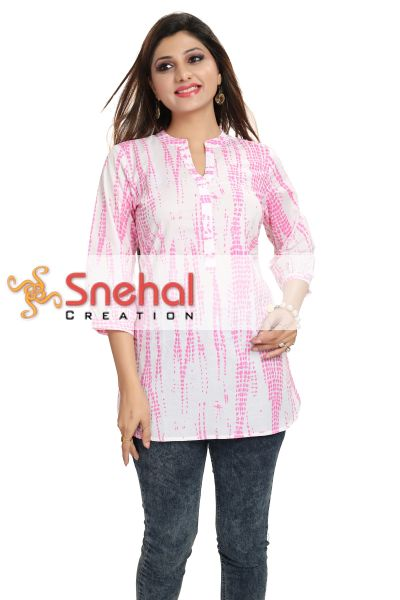 Perfect Pink Batik Cotton Short Kurta for Women
