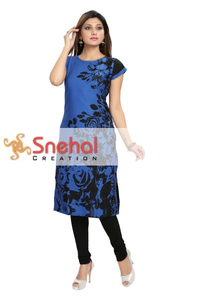 Beauteous Blue Poly Crepe Long Tunic with Print Design