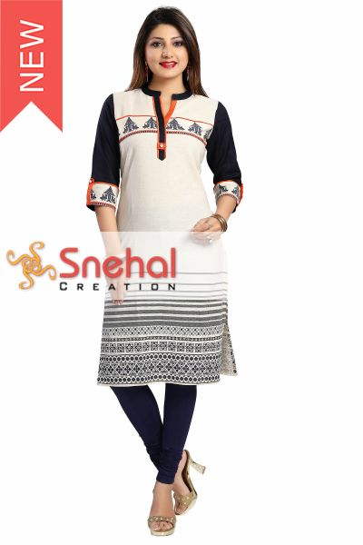 Curiously Contemporary Cream Cotton Tunic with Print Design