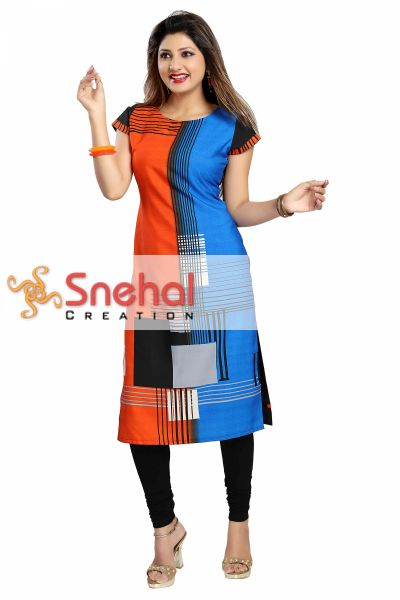 Graceful Ladylike Orange and Blue Faux Crepe Straight Tunic