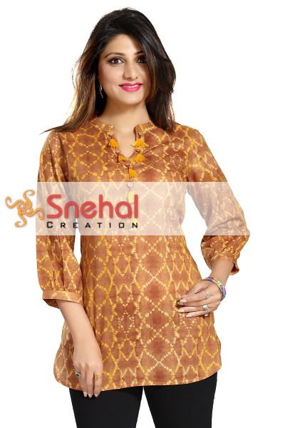 Casual Charisma Printed Cotton Tunic with PomPoms for Womenswear