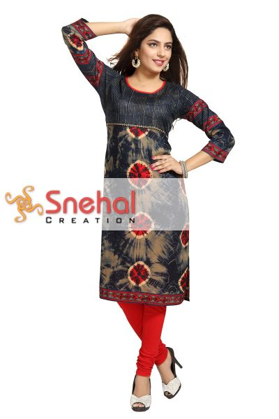 Graceful Multi Colored Cotton Tunic with Battik Print