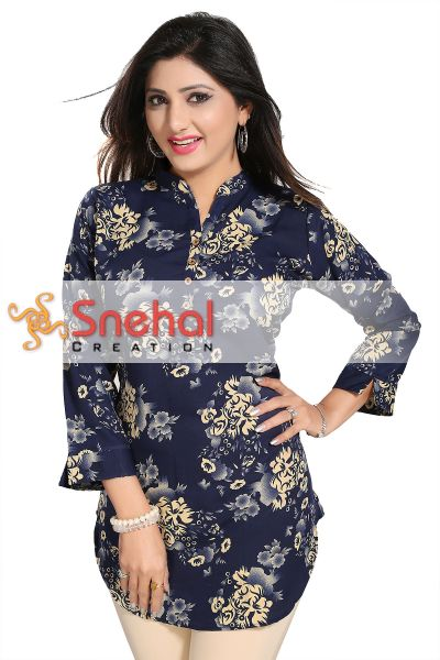 Exquisite Navy Blue Poly Crepe Short Tunic with Floral Print