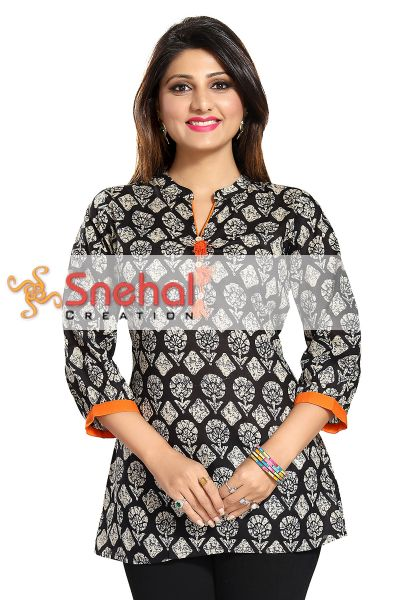 Compact Craft Black Cotton Printed Short Kurta with PomPoms for Casual Wear