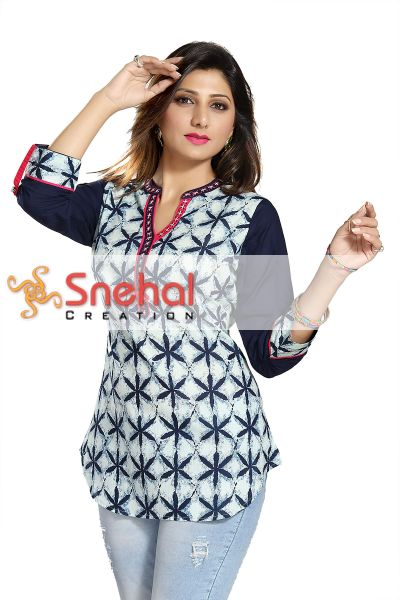Casual Craze Blue and White Cotton Printed Short Tunic Top for Women