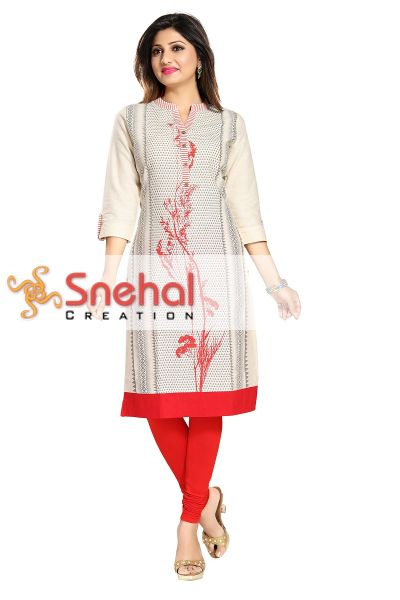 Sleek Chic Off White and Red Cotton Printed Long Tunic for Everyday Wear