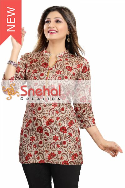 Print Perfect Short Length Art Silk Kurti for Modern Woman