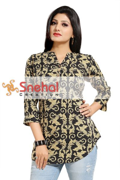 Beauteous Black Poly Crepe Printed Short Tunic Top for Women