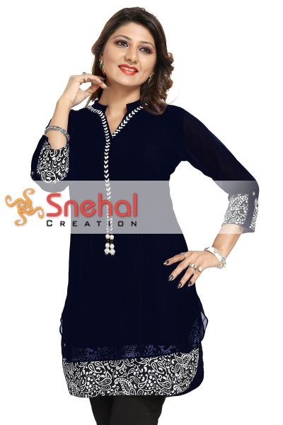 Beautilicious Black Fine Georgette Party Wear Layered Short Tunic