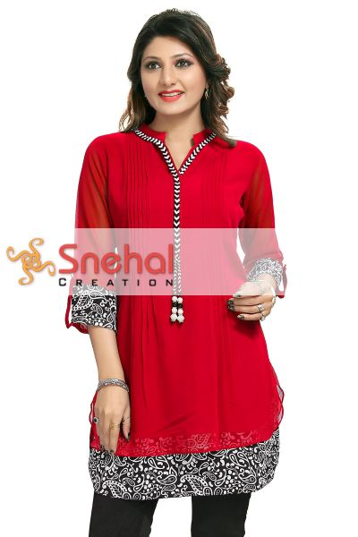 Beautilicious Red Fine Georgette Party Wear Layered Short Tunic