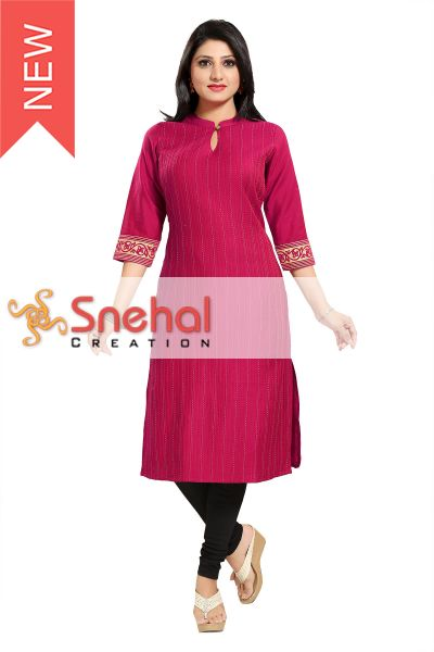 BEAUTIFUL MAGENTA PINTEX PATTERN LONG KURTA