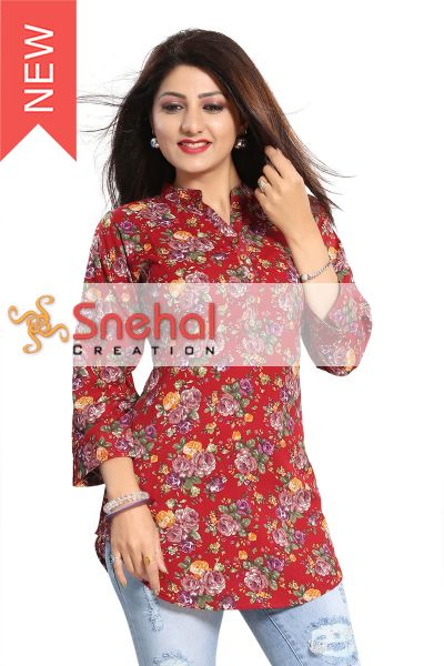 Exquisite Red Poly Crepe Short Tunic with Floral Print