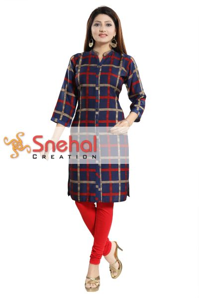 BLUE BEAUTY CHECKERED LONG KURTI FOR WOMEN