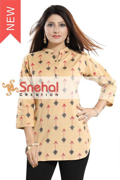 Beige Cotton Ikkat Print Short Kurti For Girls n Women