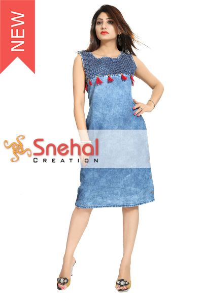 Zesty Denim Fabric Light Blue Sleeveless tunic from Snehal Creations