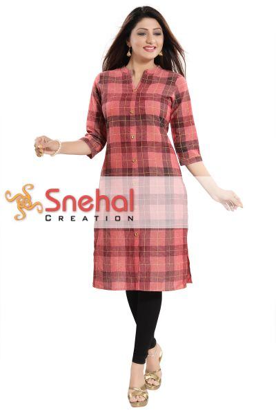 Just Jute Checkered Pattern Shirt Style Front Open Casual Kurti