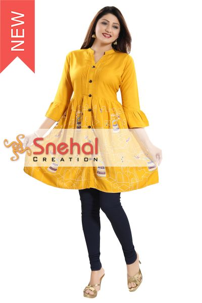 Flared Rayon Cotton Ladies Tunic for Everyday Wear