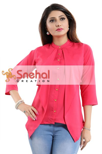 Pinky Pink Poly Crepe Designer Short Tunic Top with Drape Layers