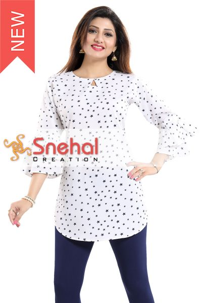 STAR PRINT CASUAL KURTI WITH FRILLED SLEEVES